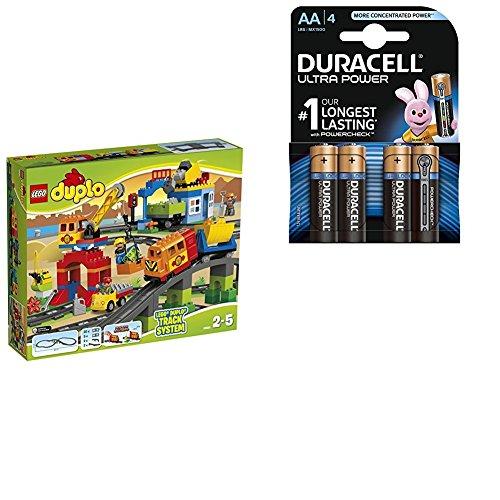 LEGO DUPLO 10508 - Eisenbahn Super Set mit Duracell Ultra Power Typ AA Alkaline Batterien (4er Pack)