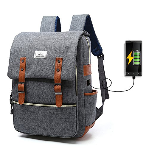 "Mochila de carga USB para portátiles de hasta 15.6"", iCasso Anti-robo Travel school bags, Laptop Backpack, viajar al aire libre transpirable Unisex Casual Bag Para Laptop 15,6"" ,Gris"