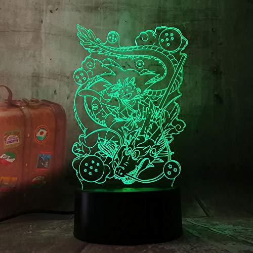 wangZJ 3d Illusion Lampe / 7 Farbwechsel Touch Nachtlicht/Halloween Geburtstagsgeschenk/Nachtlicht/Son Goku