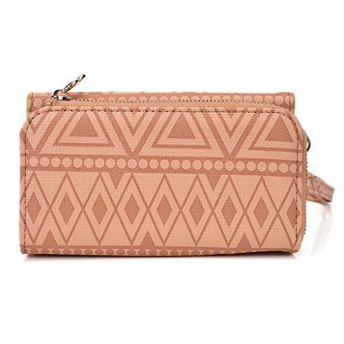 Kroo Tribal Style urbain pour téléphone portable Walllet embrayage pour Samsung Galaxy Trend Lite multicolore Hot Pink Tan Brown