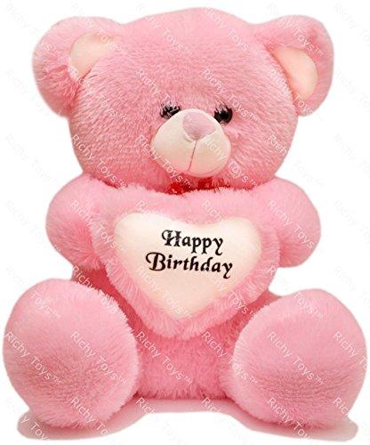 Richy Toys 50 Cm With Birthday Heart Stuffed Soft Plush Toy Kids Teddy Bear (Pink)