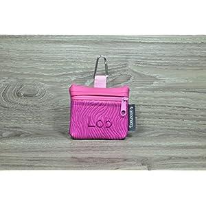 Edelzosse Mini-Gassibeutel &Leckerlitasche Pink bestickt Lob Kunstleder