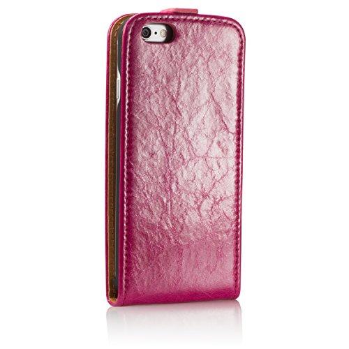 GlüxKind Echtledertasche Frankfurt Hülle Case / Flipcase für das Apple iPhone 6s 4,7_ aus echtem LederSchwarz Pink