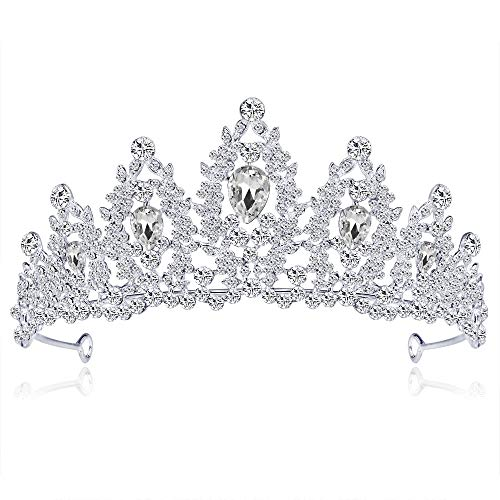 Chengzuoqing Hochzeit Tiara Strass Dekoration Braut Kopfschmuck Hochzeit Krone Kristall Braut Kopfschmuck Silber Prinzessin Headdress Royal Beauty Party Stirnband Princess Crown Crystal Beauty (Royal Princess Party)