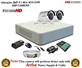#2: Hikvision 2MP DS-7104HQHI-F1 4CH DVR 1Pcs, Full HD 2MP DS-2CE16DOT-IR Bullet Camera 2Pcs + 1TB HDD + Active Cable Full Combo