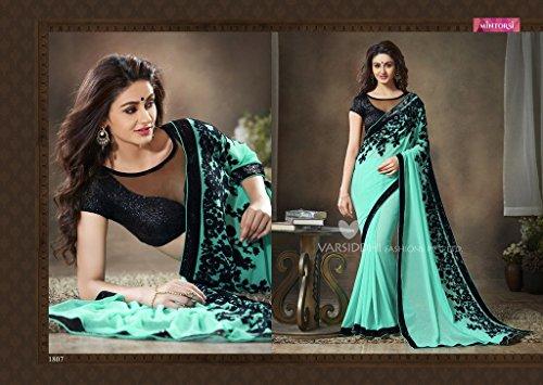 Inhika, bellissimo vestito sari da donna, in georgette, con camicetta inclusa Green Taglia unica