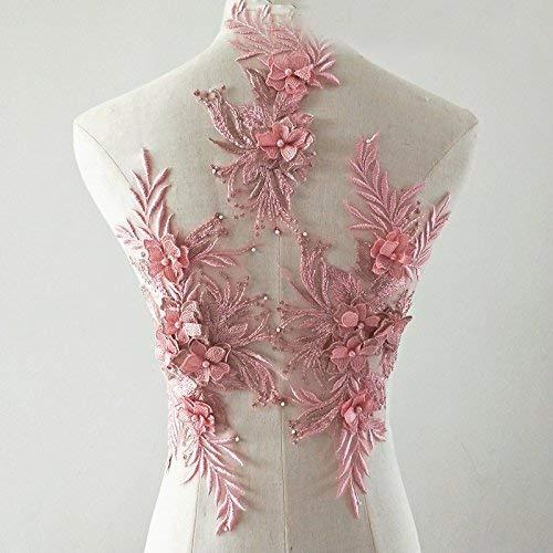bridallaceuk 3D-Spitzenapplikation, Blumen-Aufnäher, ideal zum Basteln, Nähen, Kostüm, Abenden, Brautoberteil 3 in 1 A5 rosa - Dusty pink