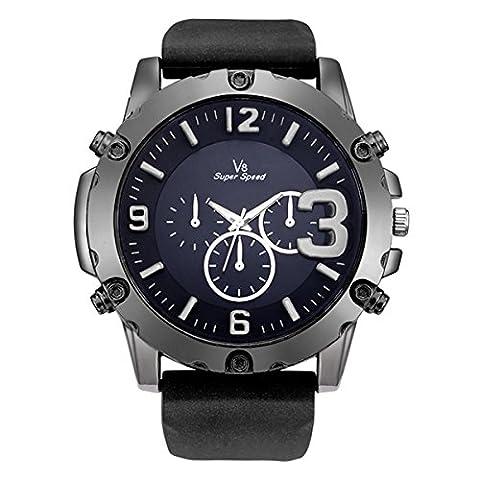 SIBOSUN 3D gros Dial Sport montre bracelet imperméable à l'eau militaire armée de terre exterieur hommes noir Silicone Oversize Quartz