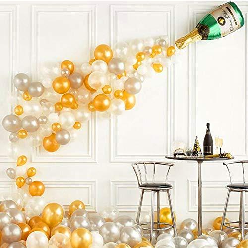 Danolt 91 Pcs Große Aluminiumfolie Sektflasche mit Gold Silber Weiß Luftballons Set für Geburtstag Hochzeit Karneval Party Halloween Weihnachtsdekoration. (Blau-silber Luftballons Weiße Und)