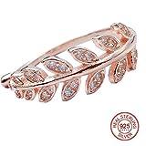 Damenschmuck Ring S925 Sterling Silber, Verstellbare Öffnung, BBYaki Stilvolle Minimalistische Olivenblatt, Valentinstag Beste Geschenk Fr Ihre Lieben , Rose gold