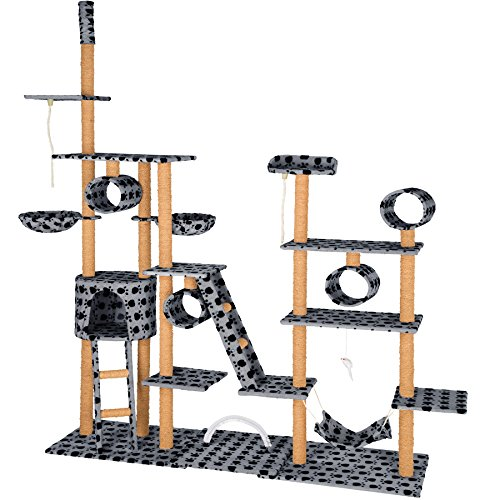 *TecTake Katzen Kratzbaum Katzenbaum XXL | 2 Spielseile | 4 Röhren | 2 Treppen | 2 Liegemulden | Deckenhoch – verschiedene Farben (Grau mit Tatzen| Nr. 402743)*