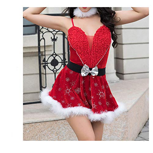 Frauen-Weihnachtswäsche-Set 5-teiliges Weihnachtskleid Rotes Babydoll Nachtwäsche Kostüme Ärmelloses Schneeflocke-Minikleid G-String Tanga Unterwäsche mit Stirnband Halskragen und Taillengürtel -