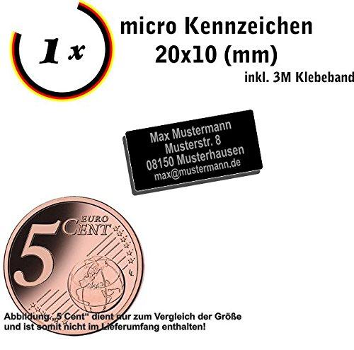 Gravierwerkstatt-Salomon Micro Drohnen Kennzeichen Alu. elox. 20x10mm oder 15x7mm Drohnen Plakette mit hochwertiger Lasergravur inkl. Klebestreifen (20x10)