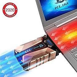 KLIMTM Cool + Refroidisseur PC Portable en Métal - Le Plus Puissant - Extracteur d' Air USB pour Refroidissement Immédiat - Ventilo - Version 2019