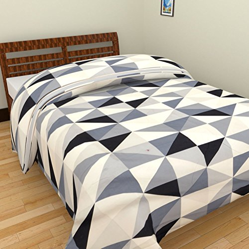 SS Sales Star And Zigzag Check Prints Reversible Single Bed AC Blanket Dohar Combo Set Of 2 Pc
