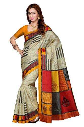ISHIN Bhagalpuri Silk Beige & Yellow Printed Women's Saree  available at amazon for Rs.499