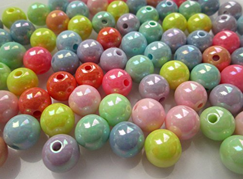 50-x-10mm-round-acrylic-beads-choice-of-colours-and-finishes-1st4beads-tm-pastel-mix-ab-finish-sacr1