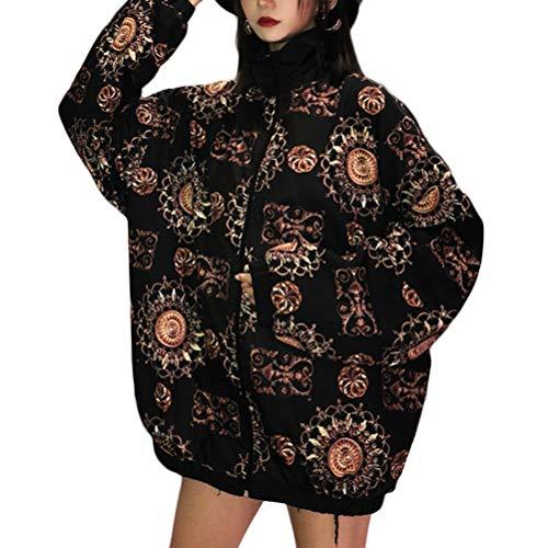 Fgfghbfhrger Frauen Vintage Print Rundhalsausschnitt Reißverschluss Plus Size Bomberjacke Kurzmantel Outwear (Color : Schwarz, Size :...