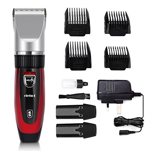 Elektrischer Haarschneider mit 4 Aufsätzen 2 Auswechselbare Batterien Haarschneidemaschine für Herren oder Friseur Salon Rot von Elehot