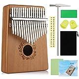 Anpro Kalimba 17 tasti - Strumento per pianoforte a pollice in mogano con martello accordatore e istruzioni di studio per principianti amanti della musica