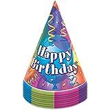 Partido Ênico brillante fiesta de cumpleaños Sombreros (paquete de 8)