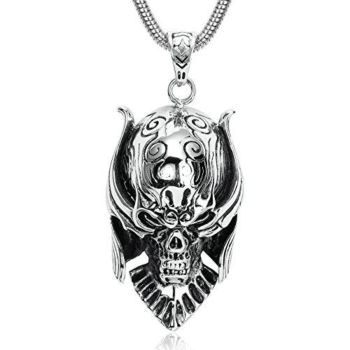 Anyeda Herren Kette Anhänger Silber Schwarz Schädel Anhänger Männer Anhänger Kette Horrible Skull Devil Vintage Anhänger Men Necklace