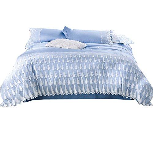 Bettwäsche Bettbezug Sets Französisch Spitze Baumwolle Bettbezug Bettwäsche und Kissenbezüge Bettwäsche für zu Hause, Geschenke, Luxushotel Showroom Hochzeit Bettwäsche,Queen 200*230cm (Bettdecke Queen-französisch)
