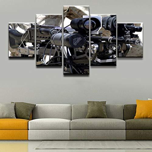 mmwin Wandkunst Home Dekorative Wohnzimmer Rahmen Leinwand Bilder 5 Stücke Machine Gun Gemälde HD Drucke Modulare Art Poster -