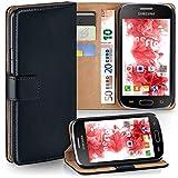 moex Samsung Galaxy S Duos 2 | Hülle Schwarz mit Karten-Fach 360° Book Klapp-Hülle Handytasche Kunst-Leder Handyhülle für Samsung Galaxy S Duos/S Duos 2 Case Flip Cover Schutzhülle Tasche