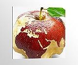 Alu-Dibond Apfel Europa Karte Afrika Weltkarte Bild auf Aluminium AluDibond UV Druck gebürstet Wandbild Metall Effekt 16A015, Alu-Dibond 1:50x50cm