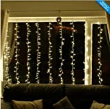 KK-LIGHT 2m x 2m 400LED Indoor Outdoor Connectable LED Curtain Lights for Home Curtain Decorations- Warm White