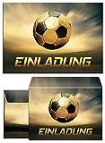 12 Einladungskarten incl. 12 Umschläge zum Kindergeburtstag Geburtstag für Junge Fussball / Fußball Party / bunte Einladungen zum Geburtstag (12 Karten + 12 Umschläge)