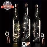 6 Pcs Flaschenlicht LED Lichtkette Flaschenlichter Weinflaschen kette Lichter 75cm 20 Birnen für Party Garten Schlafzimmer Weihnachten Halloween Hochzeit Beleuchtung Deko (Warmes Weiß)