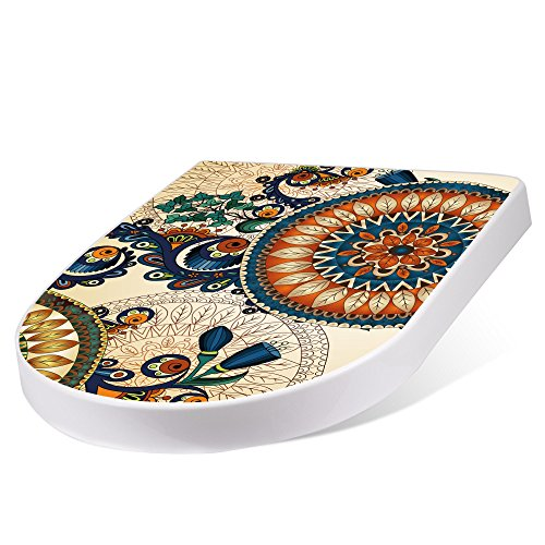 BANJADO Design Toilettensitz mit Absenkautomatik, WC-Sitz weiß, Klodeckel mit Edelstahl Scharnieren, Toilettendeckel mit Motiv Modernes Mandala