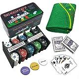 Set di poker - Blackjack in una scatola di metallo, 200 gettoni da poker, 2 mazzi, pulsante dealer, small blind, big blind, play mat