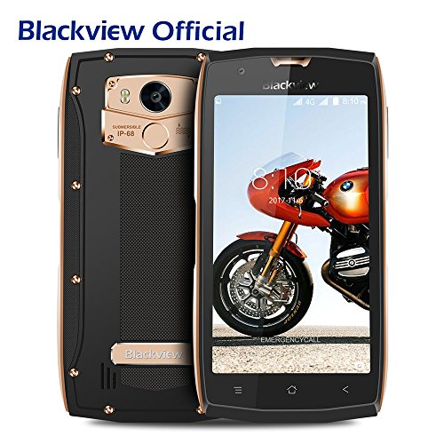 Outdoor Handy, Blackview BV7000Pro IP68 Smartphone 4GB RAM + 64GB ROM 5.0 Zoll FHD Touch Display, Rugged Smartphone 8MP +13MP Kameras 3500mAh Battrie 5V 2A Schnellladung, Android 7.0 Smartphone mit OTG, Fingerabdruck, GPS,Wifi-Gold
