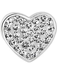 Colgantes Pugster MUm luz blanco claro translúcido diseño de corazón con cristal de imitación compatible con Pandora Pulsera