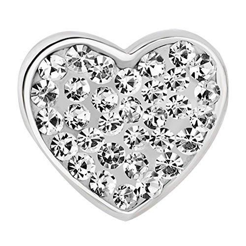 """Pugsters - ciondoli a forma di cuore con brillanti trasparenti e scritta in inglese """"mum"""""""