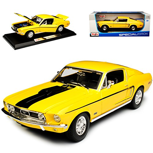 Maisto Ford Mustang I 2. Generation GT Cobra Jet Coupe Gelb 1968 1/18 Modell Auto (Jet Modell)