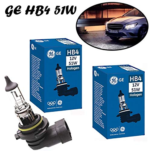 2x General Electric GE HB4 51W 12V 53070U Weiß White Headlight High Tech Ersatz Halogen Birne für Scheinwerfer, Fernlicht, Abblendlicht, Nebelleuchte vorne - E-geprüft