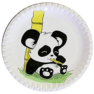 autooptimierer.de Kindergeburtstag Partyteller Panda Stabile Pappteller Rund 23cm Einwegteller Partyset Grillfest Geburtstag Deko Feier (25 Stück)