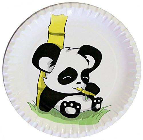 autooptimierer.de Kindergeburtstag Partyteller Panda stabile Pappteller rund 23cm Einwegteller Partyset Grillfest Geburtstag Deko Feier (25 Stück) - Pappteller Basteln Für Kinder