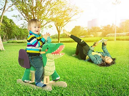 Labebe Baby Schaukelpferd Holz, Schaukelpferd Plüsch, Schaukelpferd Grün Krokodil für Baby 1-11 Jahre Alt, Schaukelpferd Kinder/Schaukel Baby//Schaukeltier Grün/Spielplatz Schaukeltier/Kleine Schaukel - 3