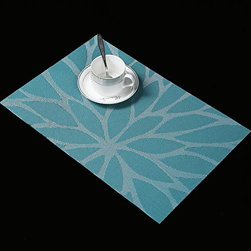 Leisial 6PCS Sets de Table PVC Matériau Écologique Sets de Table Antidérapant Thermique Imperméable Sets de Table Facile à Nettoyer pour Cuisine(Bleu)