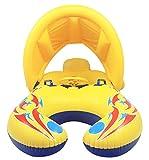 V-SOL Flotador para Bebé Padres Anillo Natación Sombrilla Inflable 110×65CM...