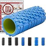 Foamroller Massagerolle Pilatesrolle Schaumstoffrolle von POWRX (Blau - Genoppt)