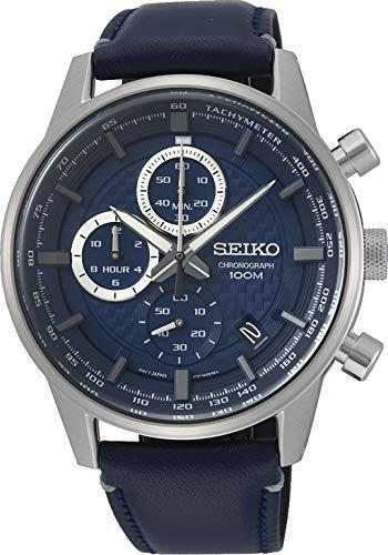 Seiko Orologio Cronografo Quarzo Unisex Adulto con Cinturino in Pelle SSB333P1