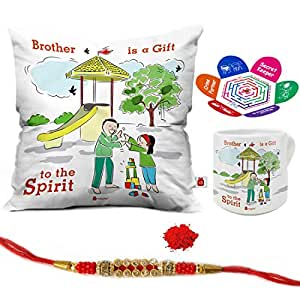 Indigifts Rakhi Gifts for Brother Brother Is A Gift To The Spirit Quote Printed Multi Gift Set of Cushion Cover 12x12 inches with Filler, Heart Shape Mug, Crystal Rakhi for Brother, Rakshabandhan Greeting Card - Rakshabandhan Gifts for Brother, Rakhi For Brother, Raksha Bandhan Rakhi for Brother