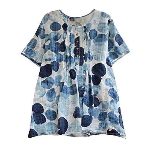 Kobay Women T-Shirt Ladies' Fashion Ink Print Loose Pleated Short Sleeve O-Neck Vintage Blouses Tops