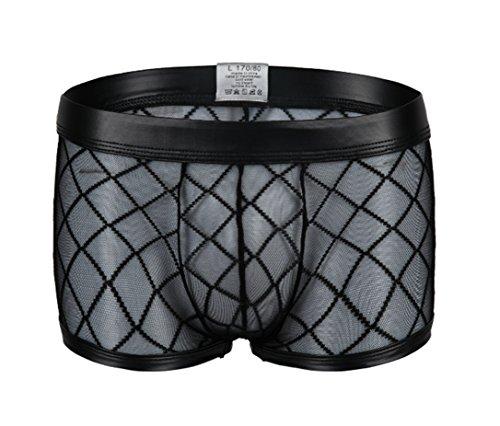 se Mesh Transparent Boxershorts Strings Netz Unterwäsche Transparent Bikini Slips Shorts Pants, Gr.-Asien M / EU XS-S,Schwarz ()